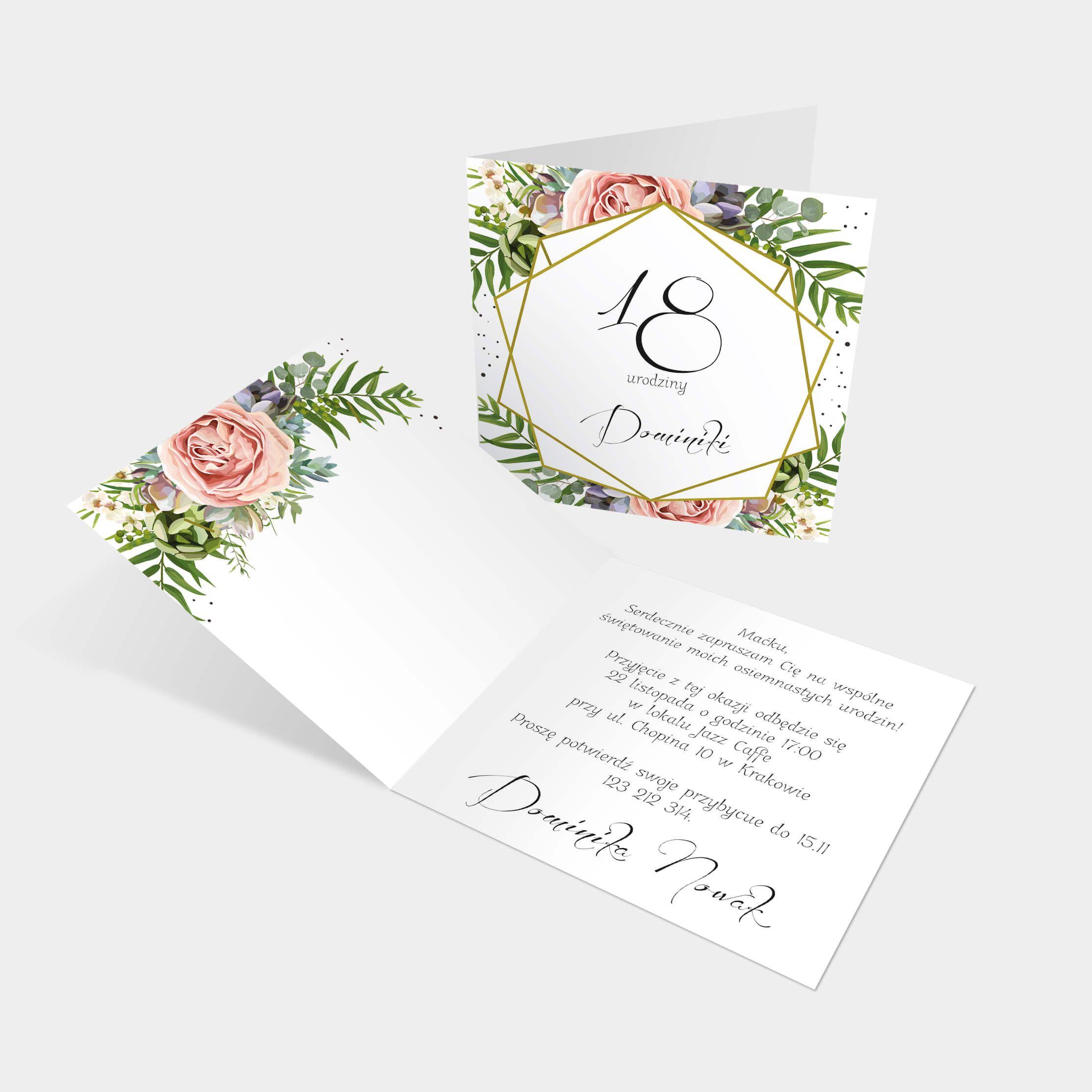 Zaproszenie Urodzinowe Z Motywem Geometrycznym Wykonane Na Matowym Bialym Papierze O Gramaturze Floral Birthday Invitations Birthday Invitations 18th Birthday