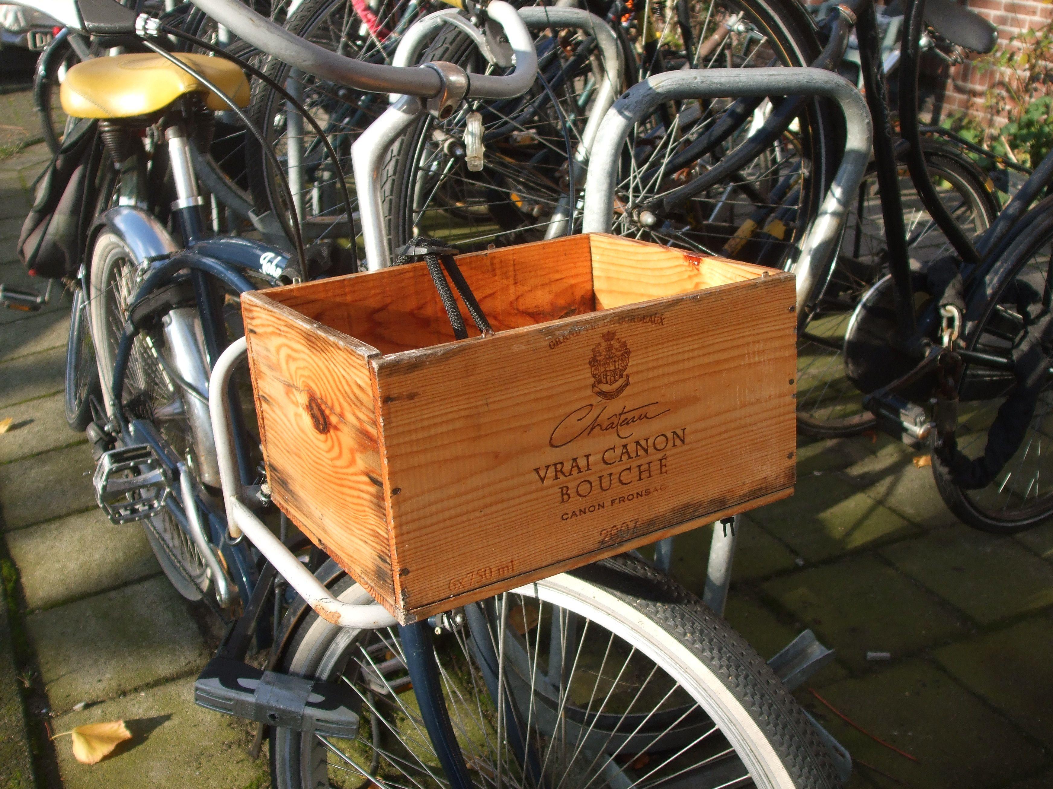 wooden wine-crate on bike