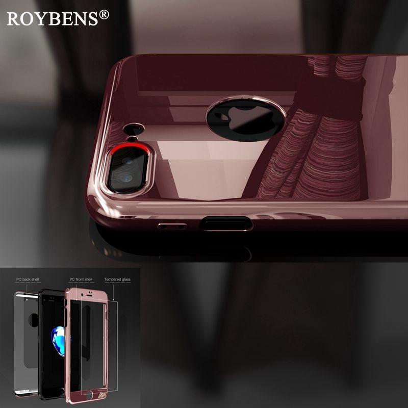 Fashion PC Plating Bling Spiegel Dekking 360 Graden Volledige Bescherming Cover case voor iphone 7 6 6 s plus + glas screen protector