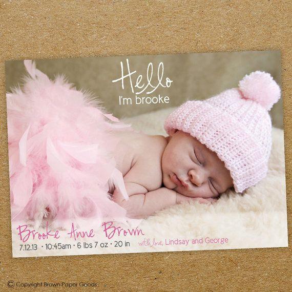 Baby girl birth announcement custom photo card hello – Baby Girl Birth Announcement Cards