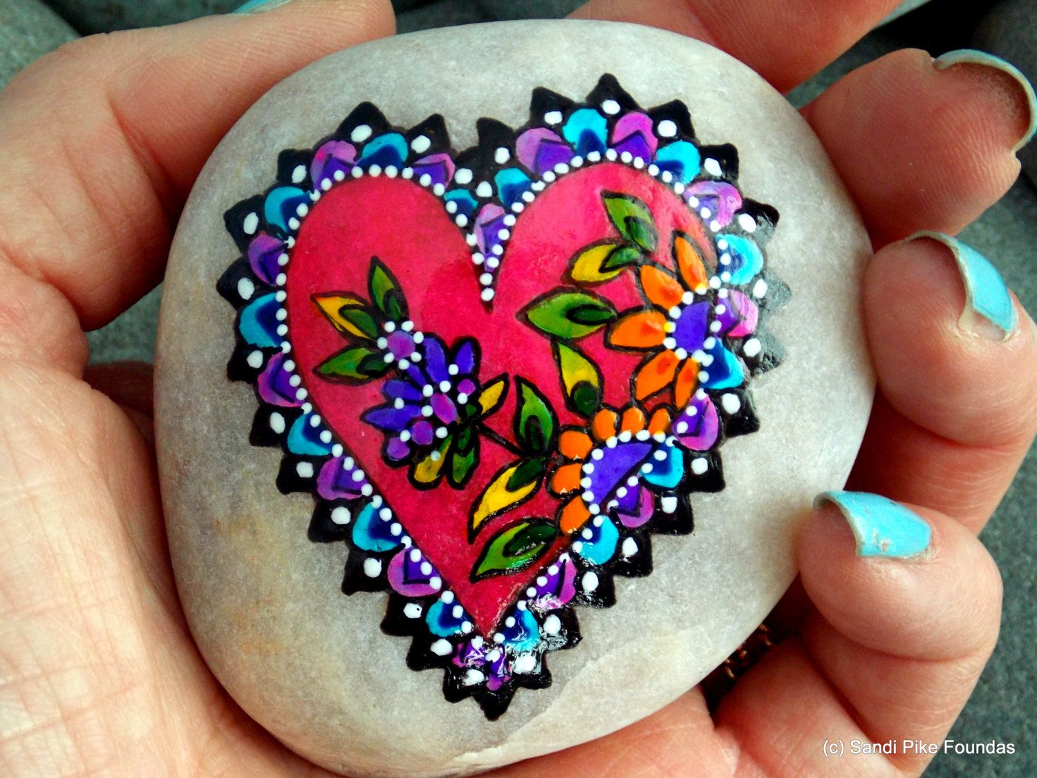 Fairy tale heart painted rocks painted stones rock art