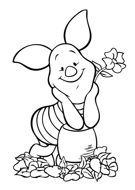 Disney characters coloring page winnie pooh piglet coloring page