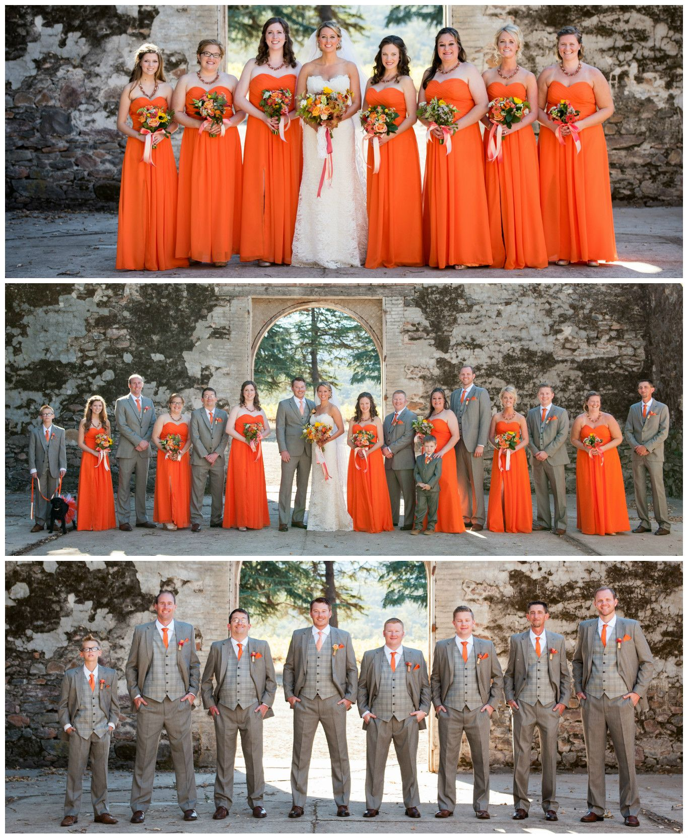 Orange bridesmaid dresses and gray groomsmen suits first look orange bridesmaid dresses only my groomsmen will be in blue jeans and a white button down shirts with orange suspenders and bow ties ombrellifo Image collections