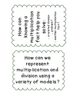 Multiplication and Division Essential Questions (CCSS