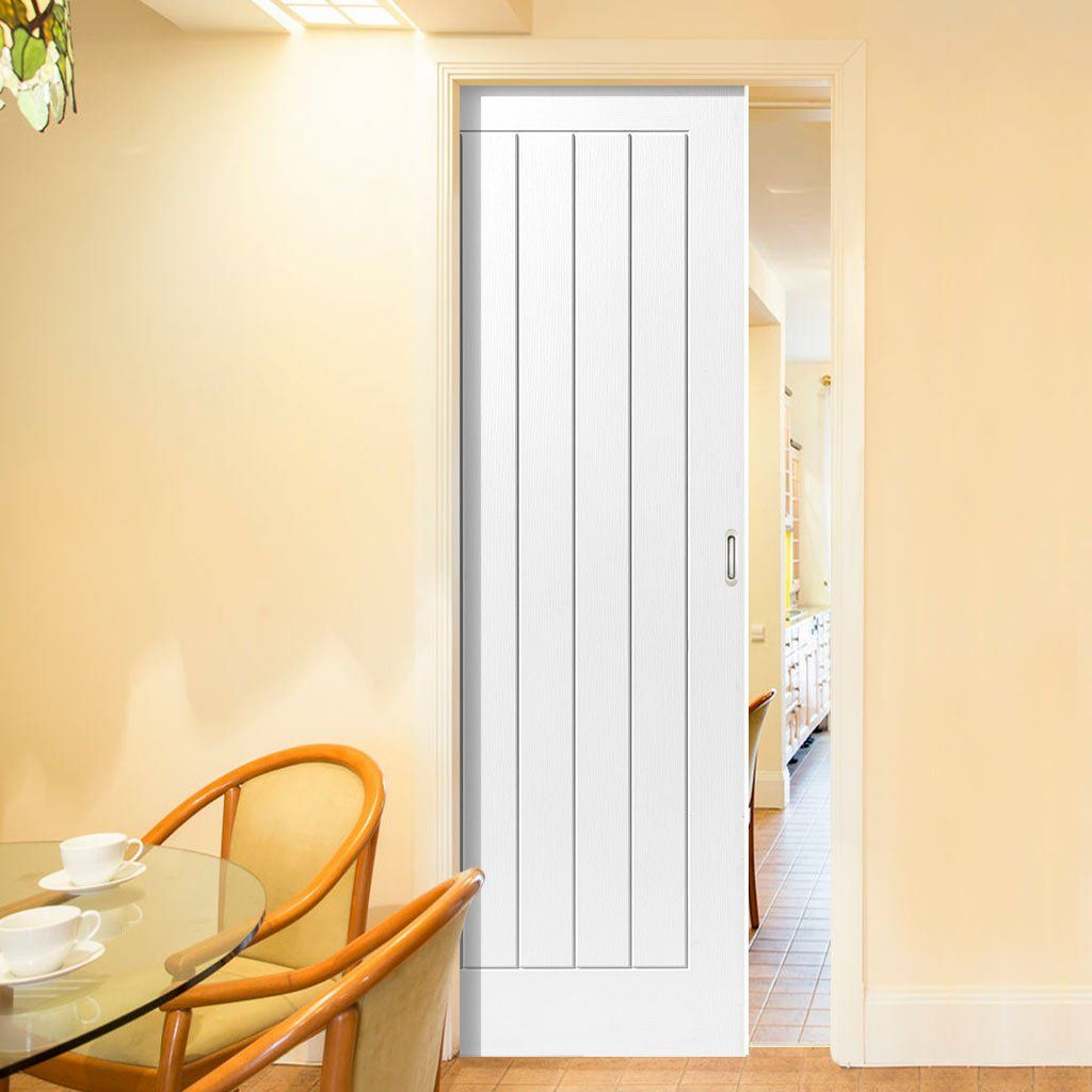 Single Pocket Cottage 5 White Sliding Door System In Three Size