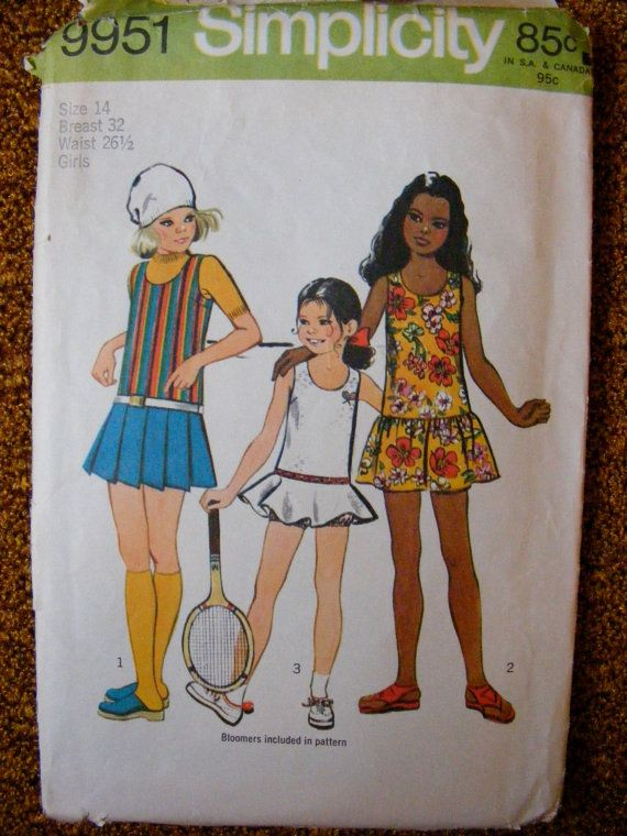 1970s Girls Mini Dress, Skirt, Tennis Dress and Bloomers - Size 14 - Simplicity Sewing Pattern 9951
