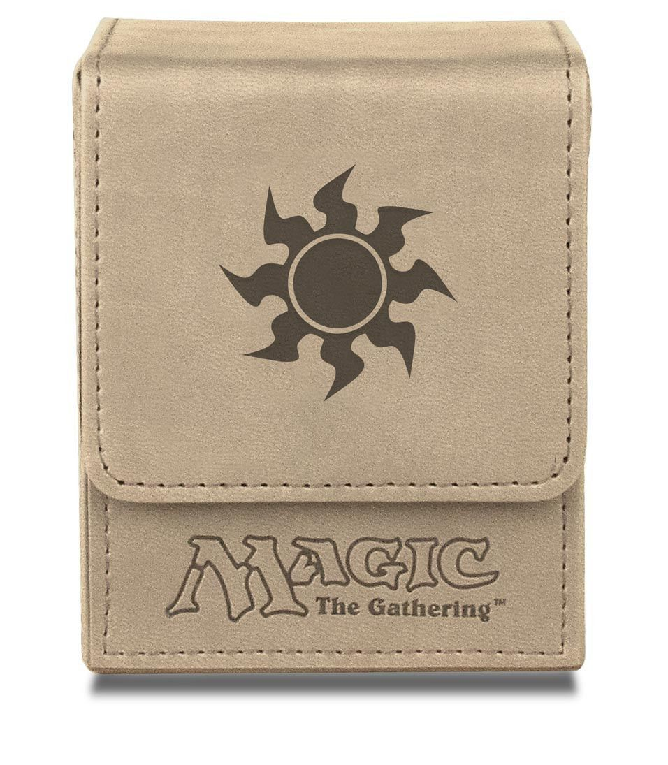 Deck box magic the gathering mana flip box white products matte leatherette material with debossed mana symbol holds 100 collectible cards in ultra pro deck protector sleeves biocorpaavc