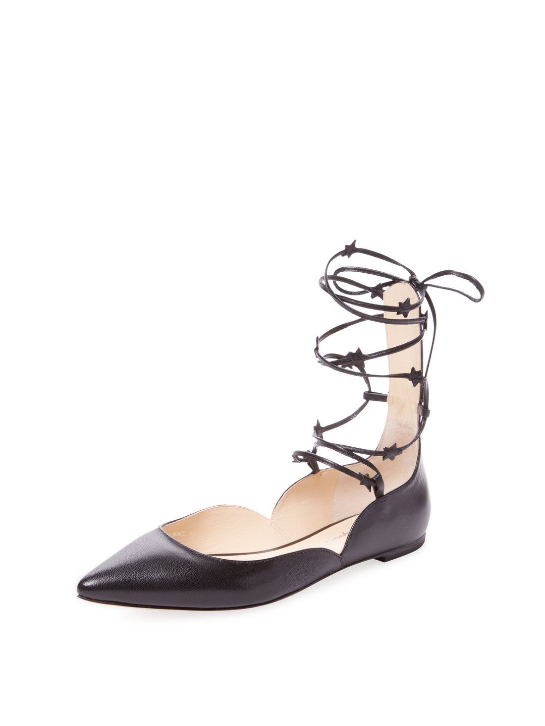 Comet Lace-Up Leather Ballet Flat by Isa Tapia at Gilt