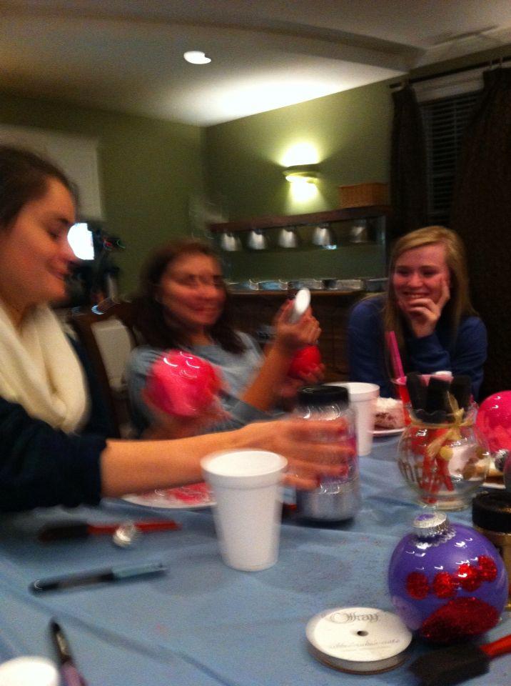 So many laughs at the Junior pledge class Christmas ornament decorating sisterhood night!