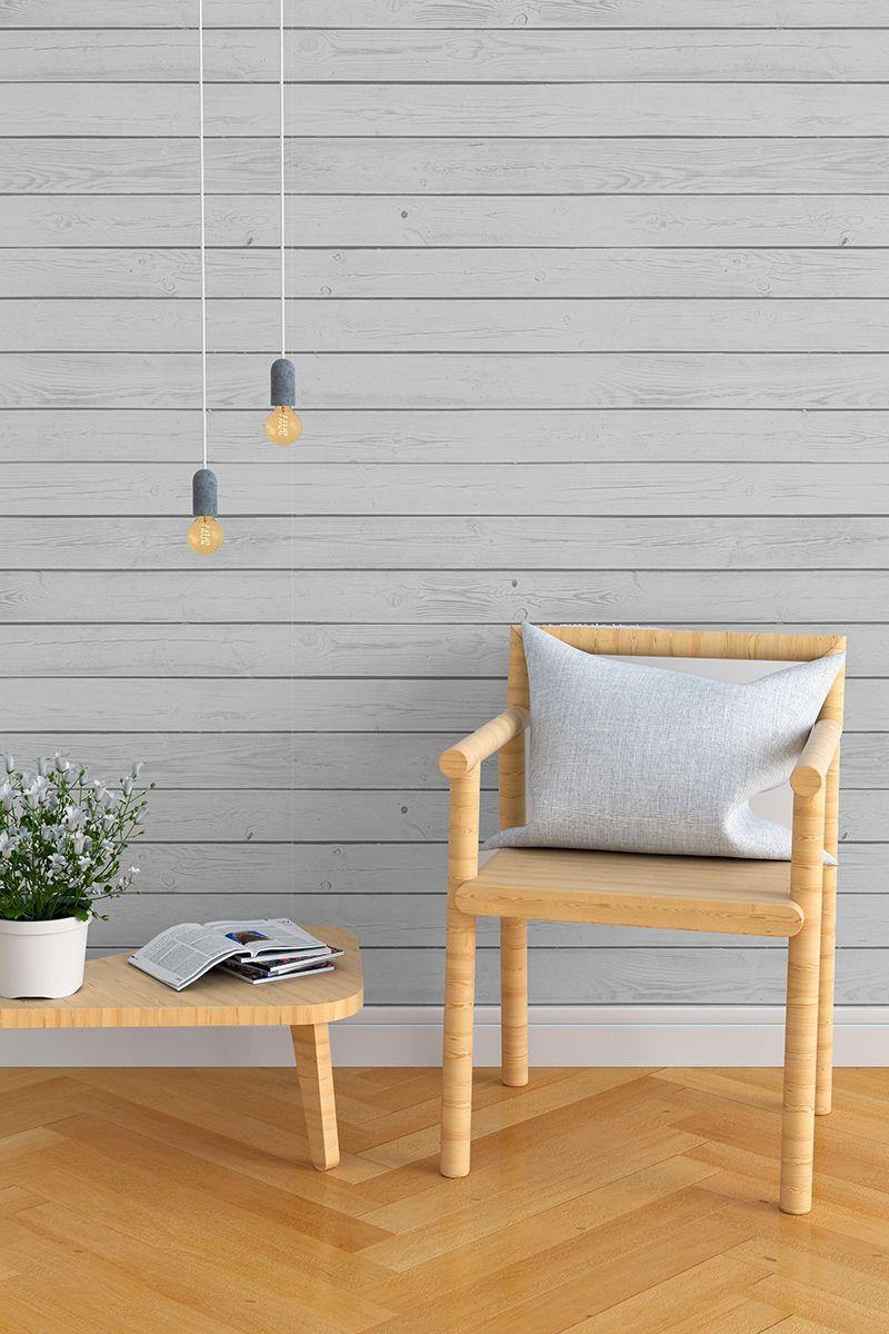 Grey Shiplap Textured Fabric Removable Wallpaper 365b