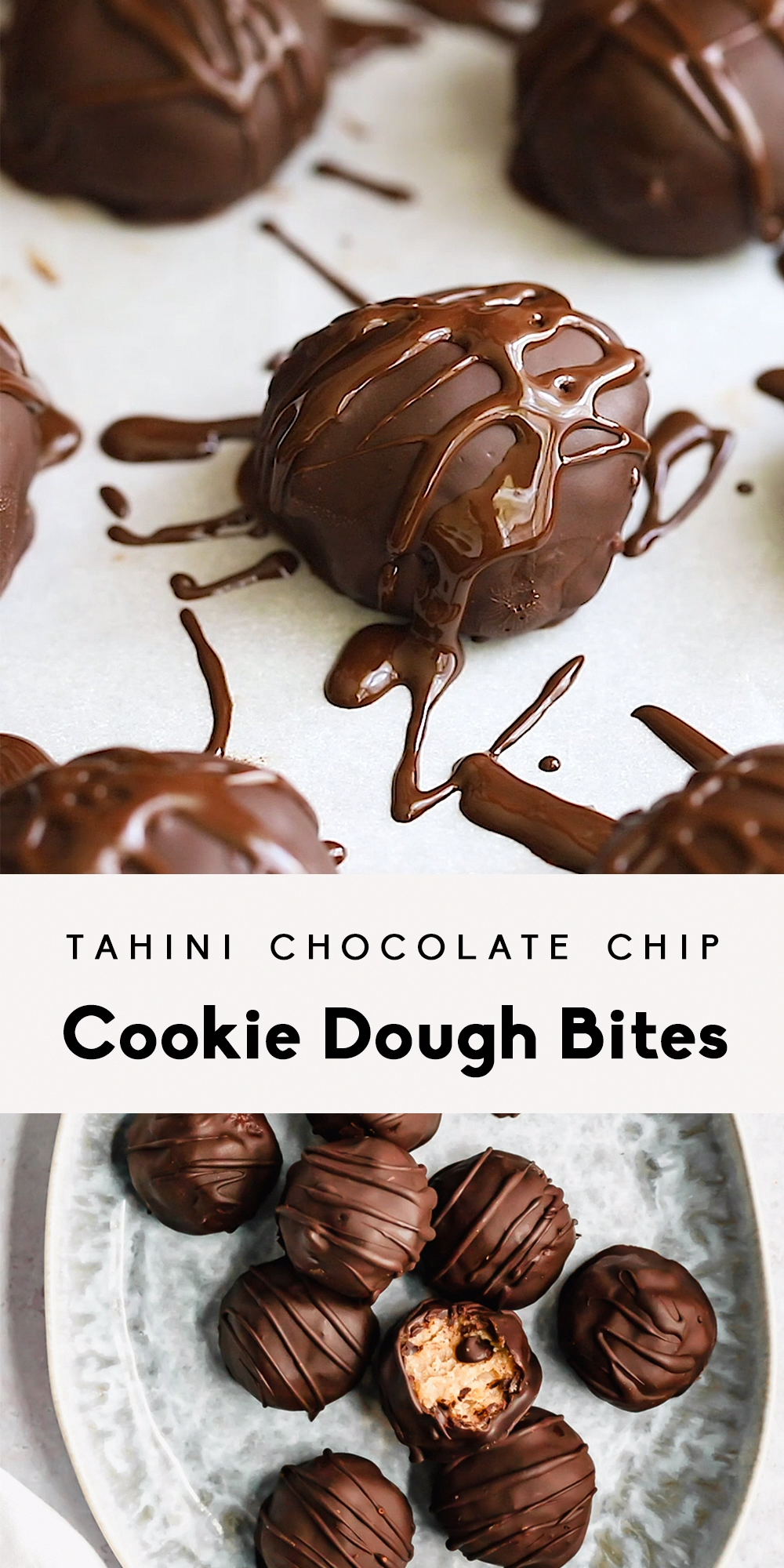 Delicious no bake tahini chocolate chip cookie dough bites! These eggless cookie dough bites are vegan, dairy free, gluten free and naturally sweetened with just pure maple syrup and chocolate chips. Keep them in your freezer for an easy no bake healthy dessert!