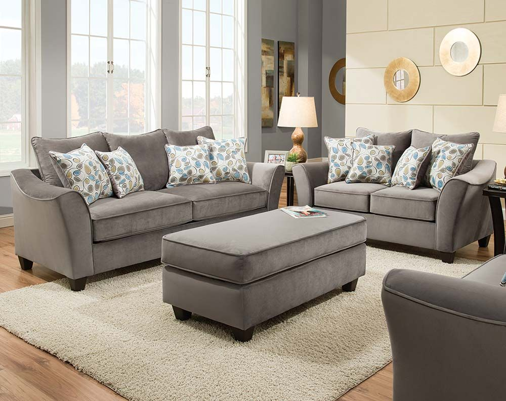 Light gray couch set swooping armrests bella gray sofa for Family room sofa sets