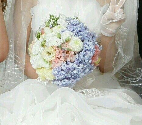 유나 결혼식선물로 만들어준 부케 :) 예뿌당 완전한 원형♥