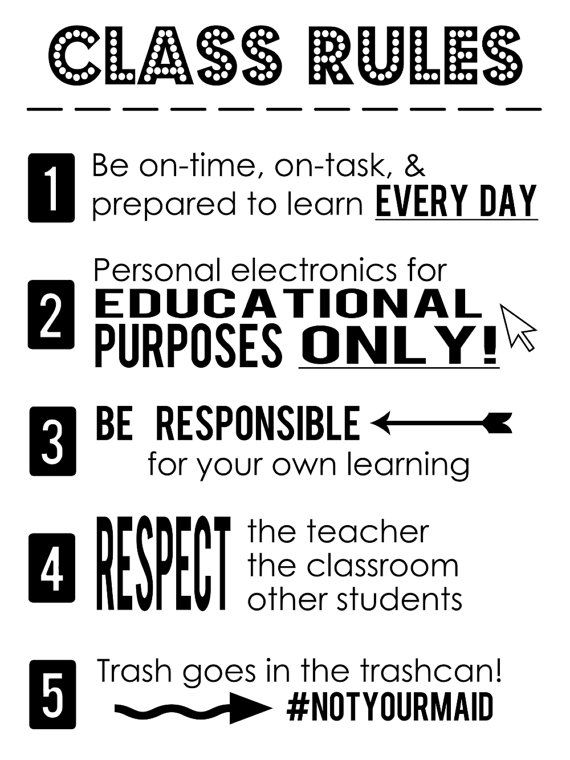 Class Rules Poster Instant Download by TwoLiveColorfully on Etsy is part of High school classroom -