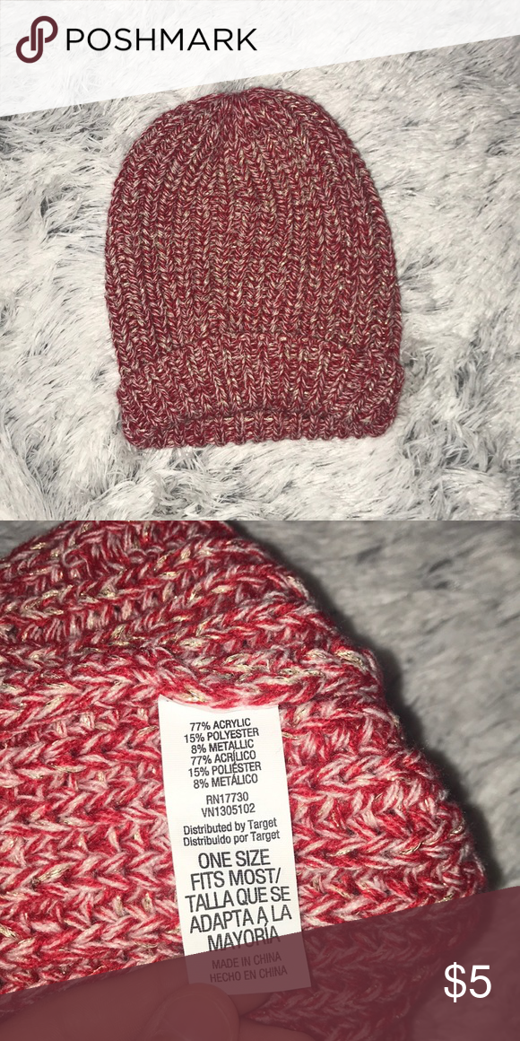 Red   Gold Beanie Red knit beanie with white and gold stripes. target  Accessories Hats f5c1acd8afa