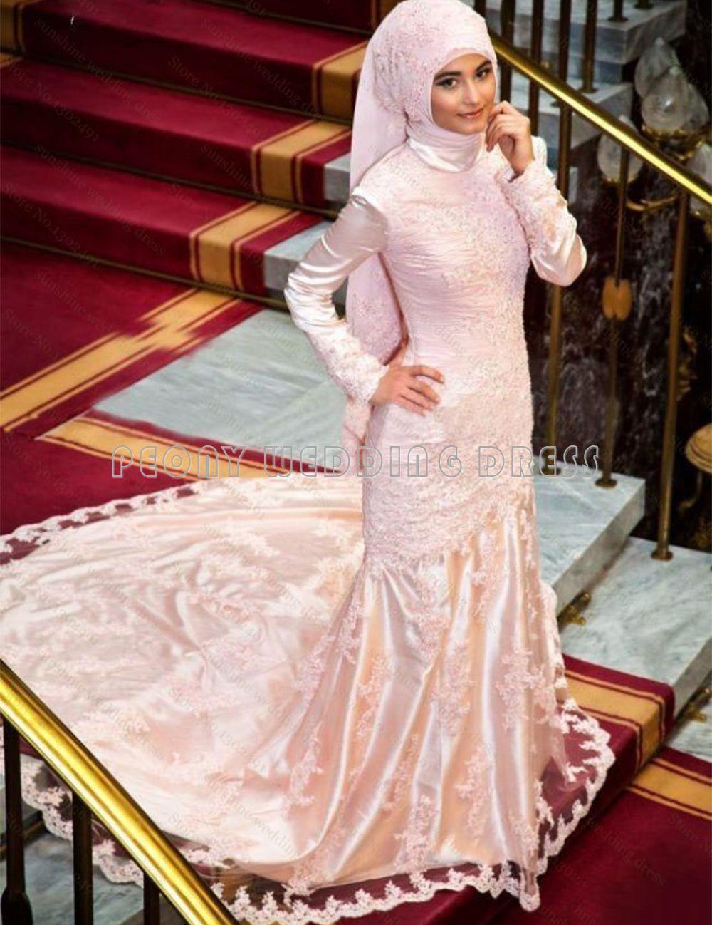 Pink Satin Lace Long Sleeve Muslim Wedding Dress 2016 High Neck ...