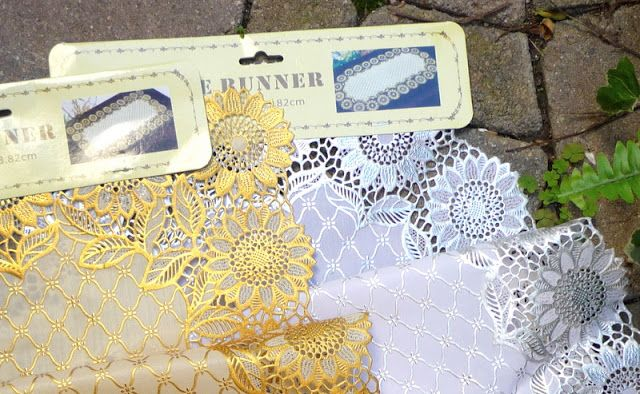 Use Plastic Lace Table Runner Cut Out To Make Pretty Decorations On Just About Anything