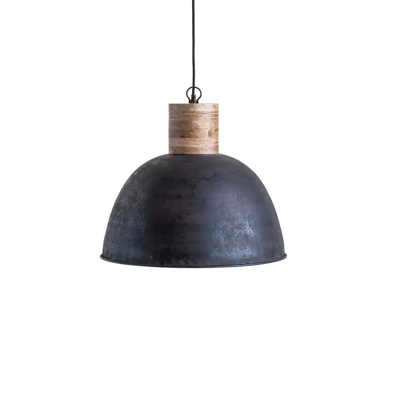 Killough 1 Light Single Dome Pendant With Wood Accents Wood Pendant Lamps Metal Pendant Light Pendant Light