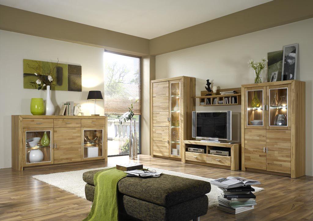 wohnwand kernbuche teilmassiv mit sideboard woody 97 00016 holz modern jetzt bestellen unter. Black Bedroom Furniture Sets. Home Design Ideas
