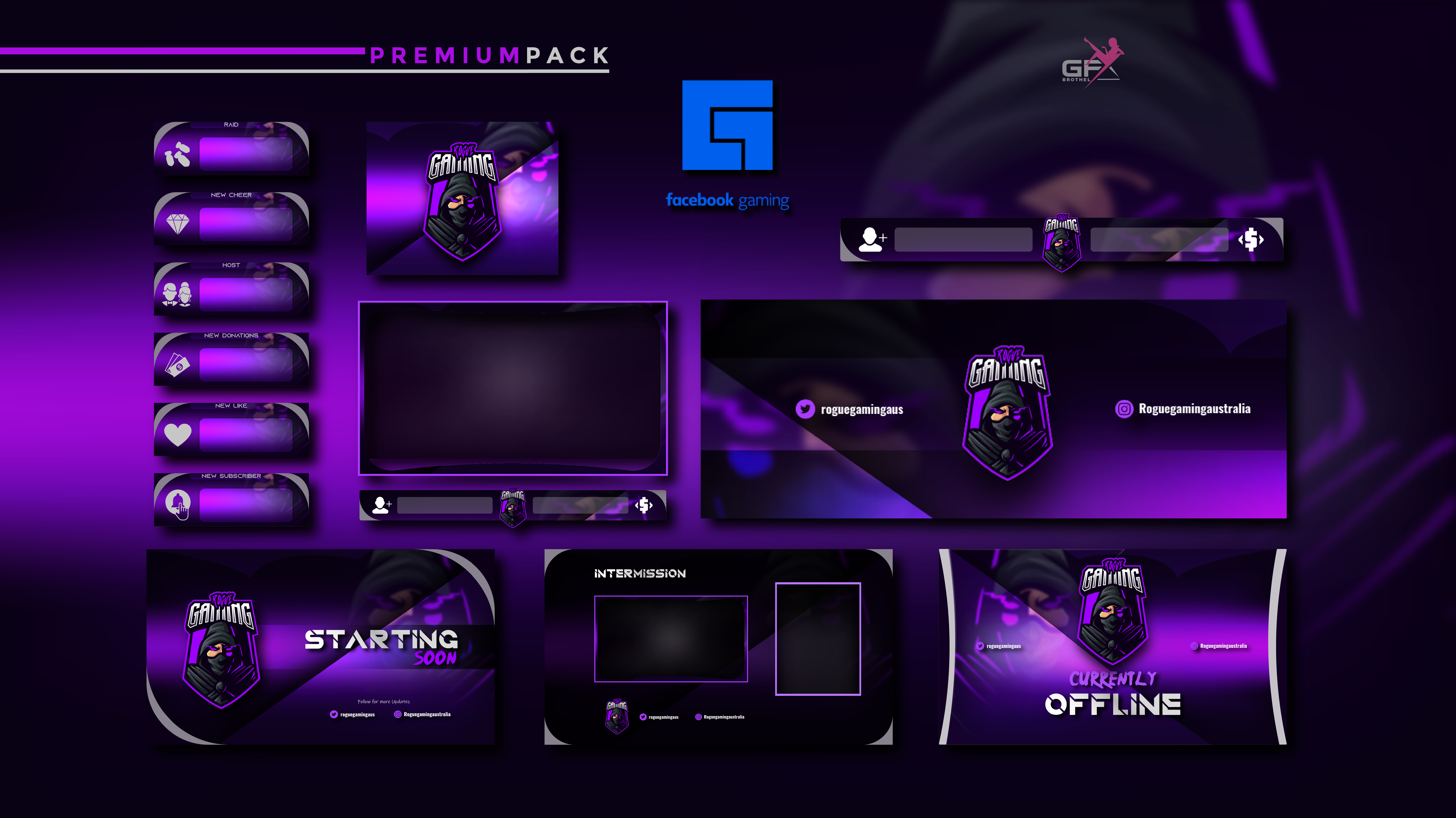 Gfx Brothel I Will Craft Custom Twitch Overlay Stream Package Twitch Channel Logo Panel Banner For 10 On Fiverr Com Logo Design Video Twitch Overlays