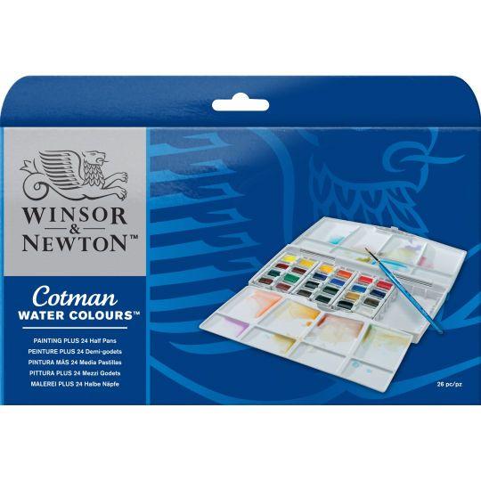 Winsor Newton Cotman Watercolor Pocket Plus Set 24 Half Pans
