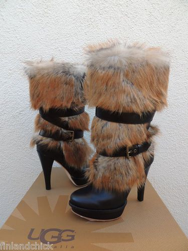 131bb9df7ef Details about UGG BLACK TALL AVA EXPOSED FUR LEATHER HIGH HEEL BOOTS ...