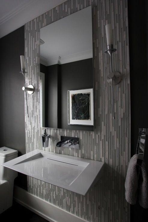 Gray Linear Mosaic Glass Tiles Tocadores Modernos Decorar Banos