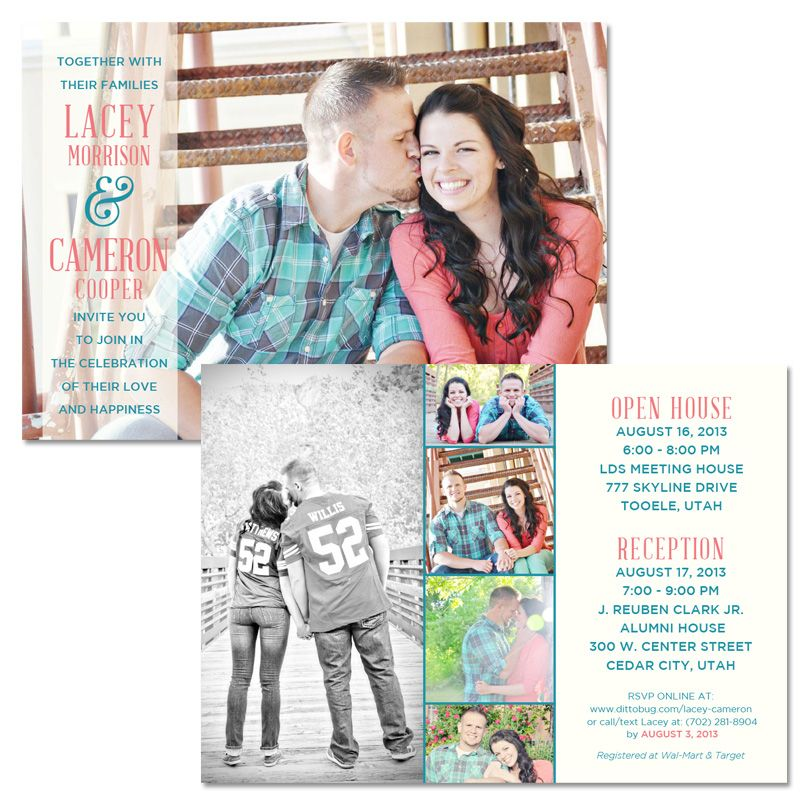 5x7 Wedding Invitation Utah Lacey Cameron Graphic Design