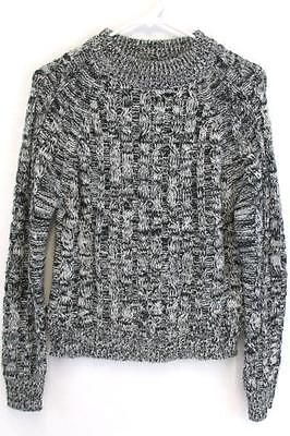 840ad40a55 AMBIANCE Women s Chunky Cable Knit Sweater Long Sleeved Black Gray Size  Small