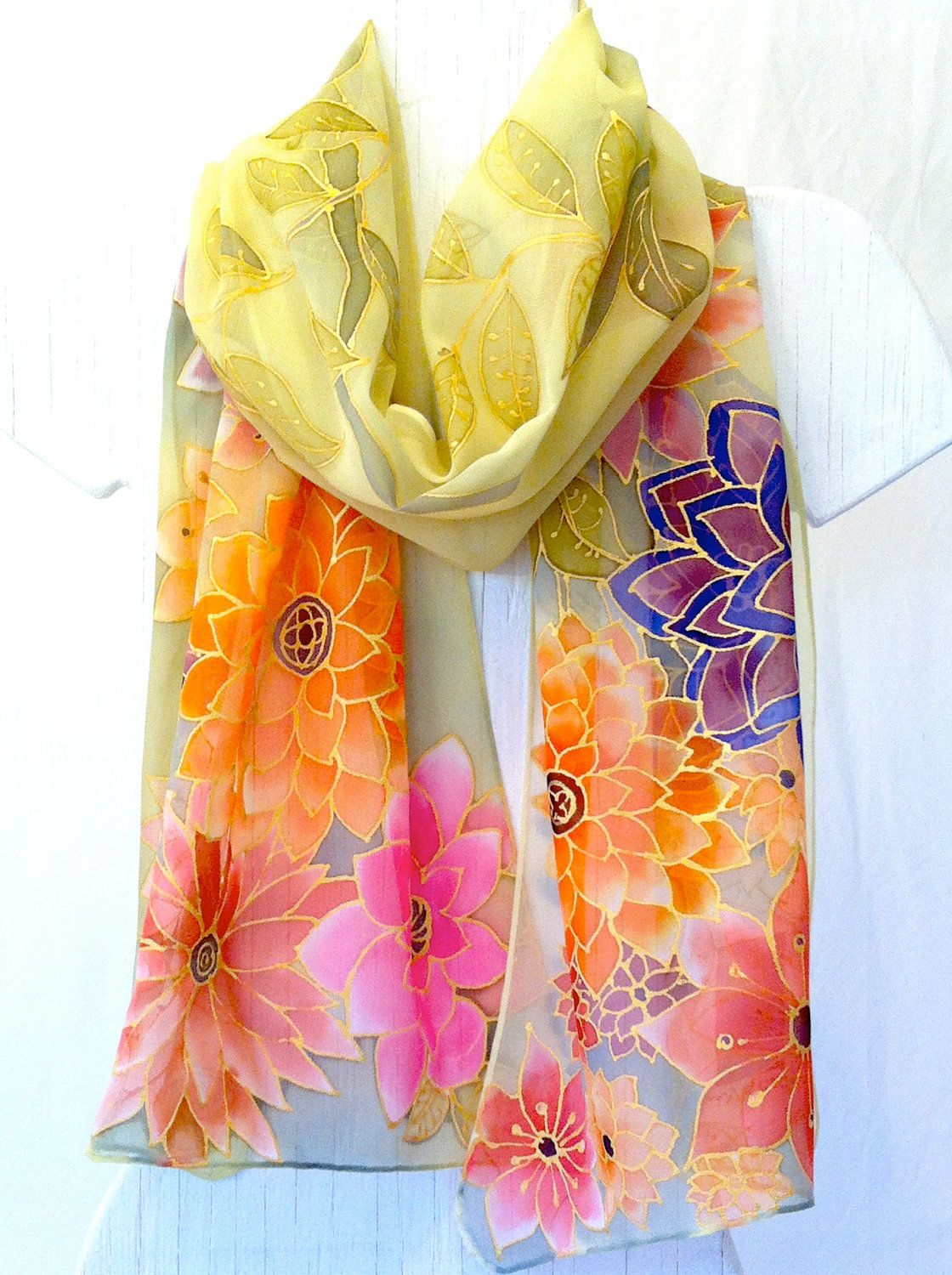 Hand Painted Silk Scarf. Japanese Floral Silk Scarf