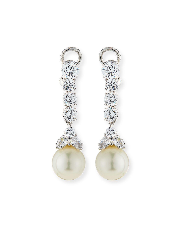 CZ & Simulated Pearl Long Drop Earrings