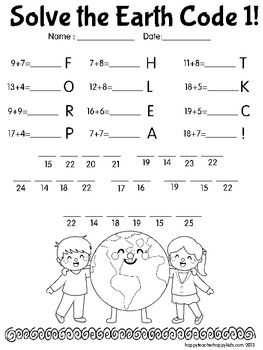 Earth Day Math Codes FREE! | Earth Day | Pinterest | Schule, Rund ...