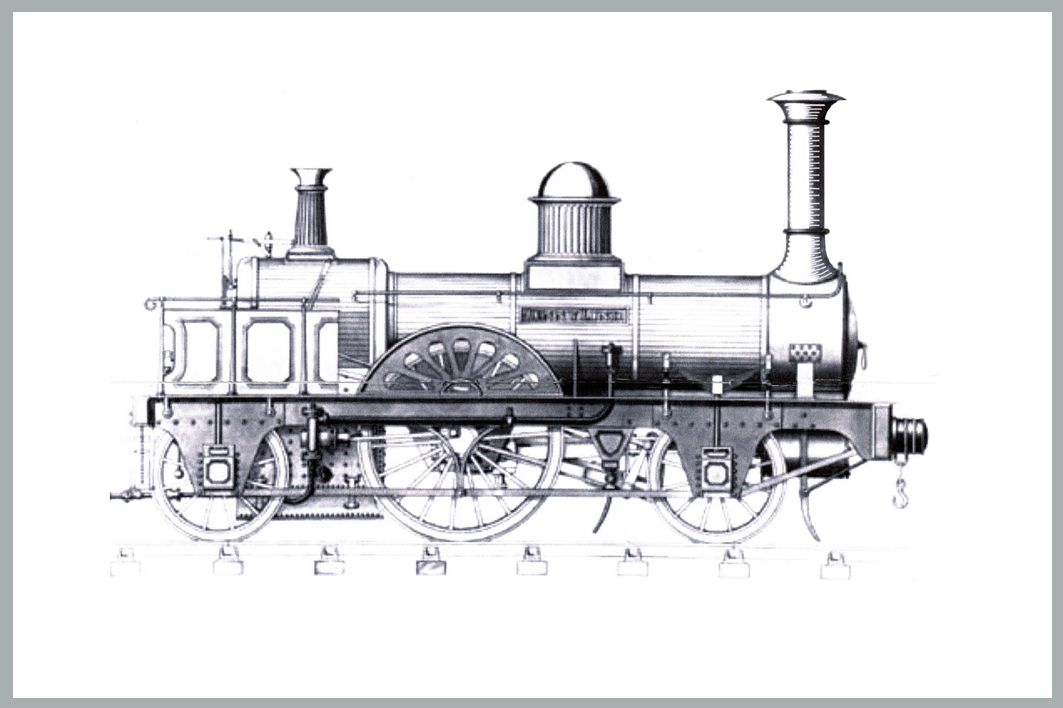 "dimensional"" replica of an 1847 steam locomotive, the"