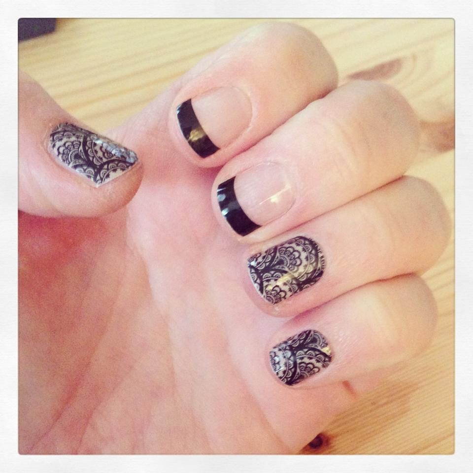 Jamberry Nails Black Tip Short Length with Black Lace #frenchtip Www ...