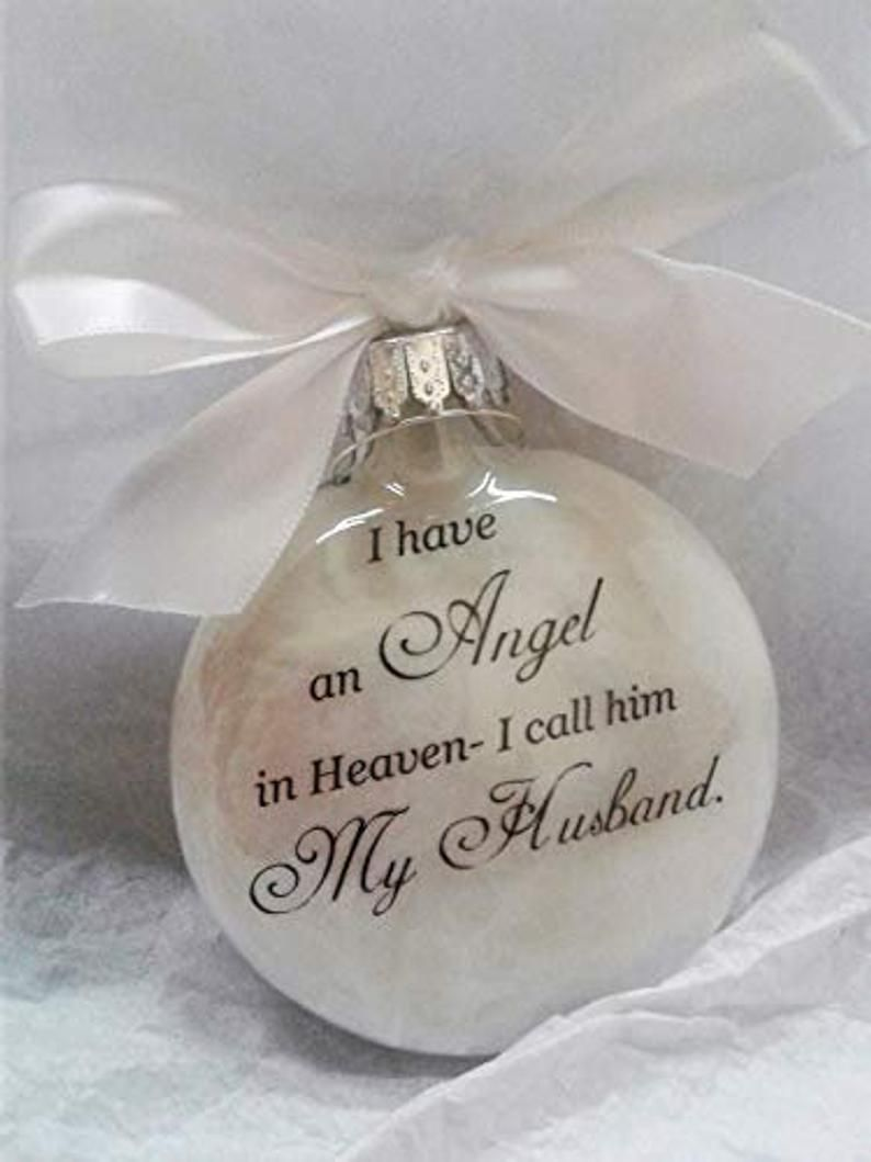 Spouse Memorial Ornament In Memory Christmas Angel In Heaven I Etsy How To Make Ornaments Memorial Ornaments Christmas Angels