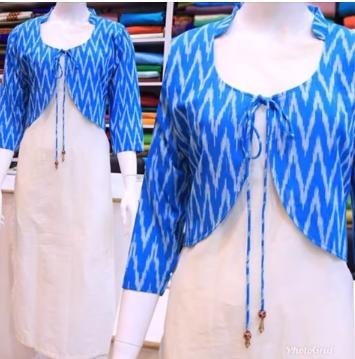 Designer Cotton Kurtis With Short Jacket - ArtsyCraftsyDad