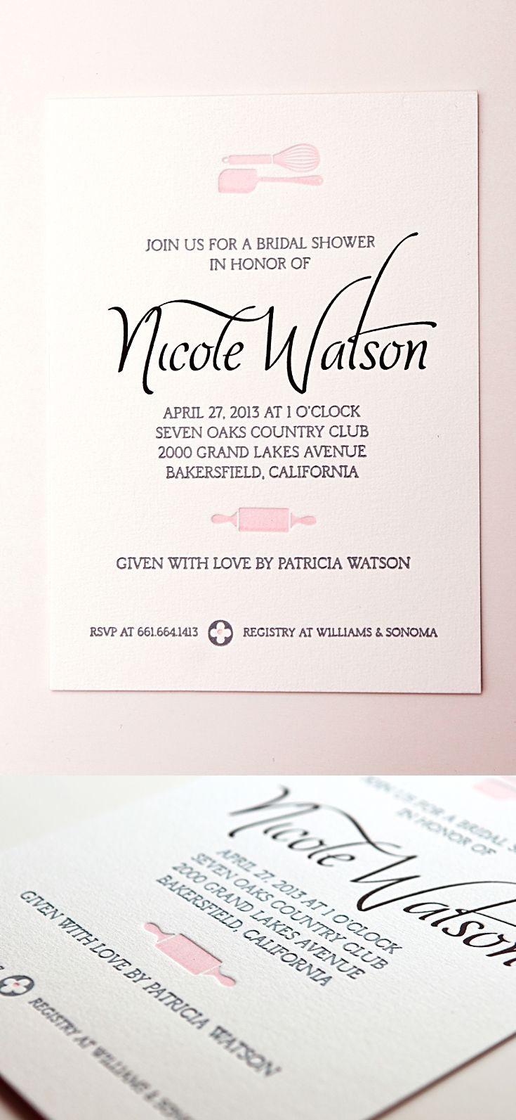 Kitchen shower invitations pretty in pink shower invitations kitchen themed wedding showers can be very elegant our kitchen bridal shower invitations were printed with letterpress pin for later filmwisefo