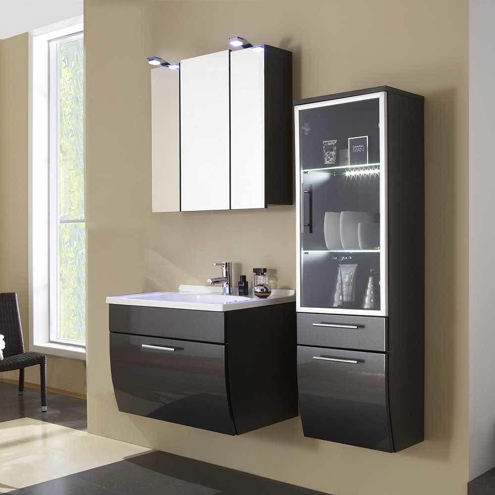 Möbel Set für Badezimmer Anthrazit Hochglanz (3-teilig) Jetzt ...