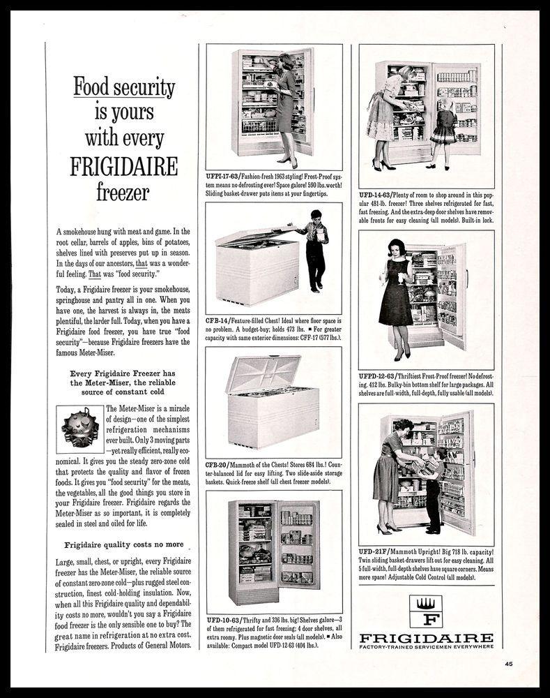 1963 Frigidaire Freezer Vintage Print Ad Food Storage Kitchen Appliance 1960s Vintage Prints Retro Kitchen Kitchen Storage