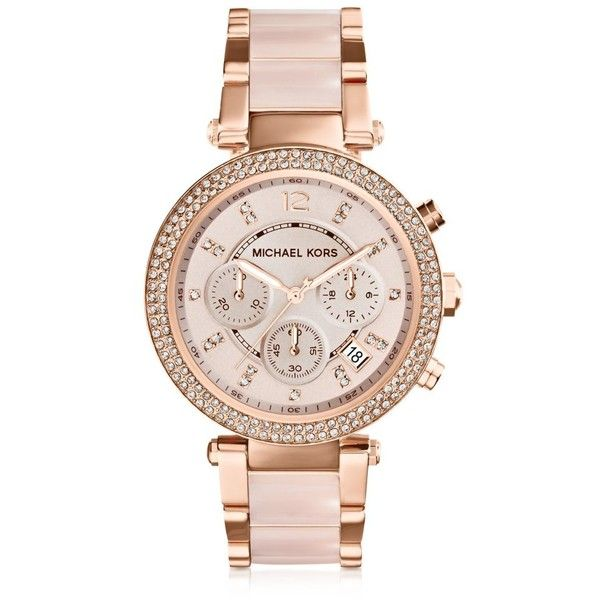 Michael Kors Mid-Size Rose Golden Stainless Steel Parker Chronograph... (€265) ❤ liked on Polyvore featuring jewelry, watches, accessories, bracelets, relógios, pink, women's watches, stainless steel watches, buckle bracelet and bezel watches