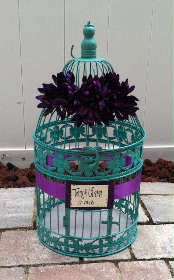 wedding reception birdcage card holder wedding card box teal