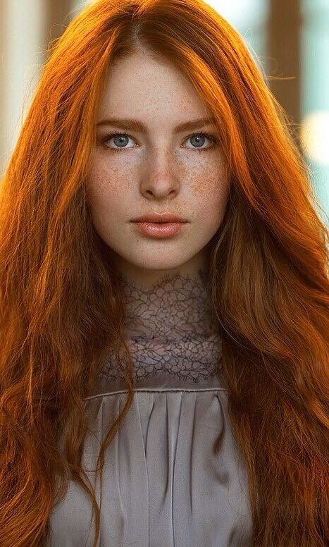 Have faced pretty redhead teen are