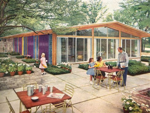 """your 1957 dream house made real — alcoa """"care-free"""" home 