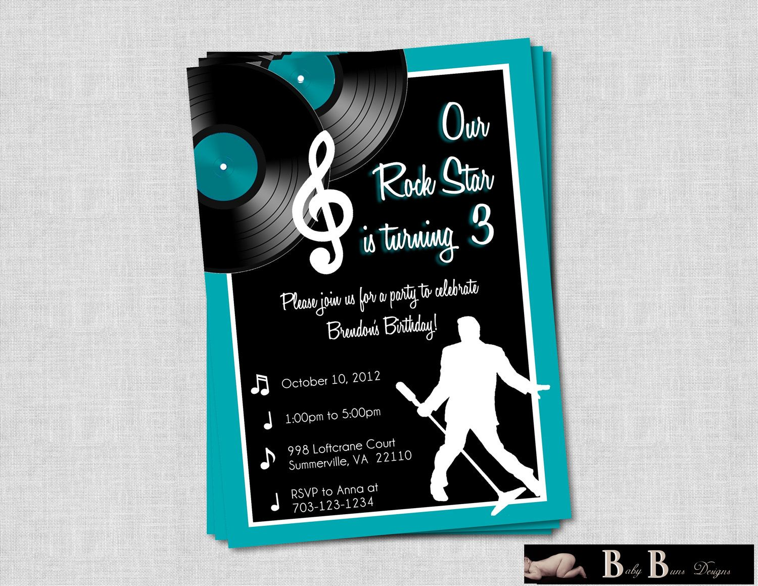 Rock & Roll Music Birthday Party Invitation by BabyBunsDesigns ...