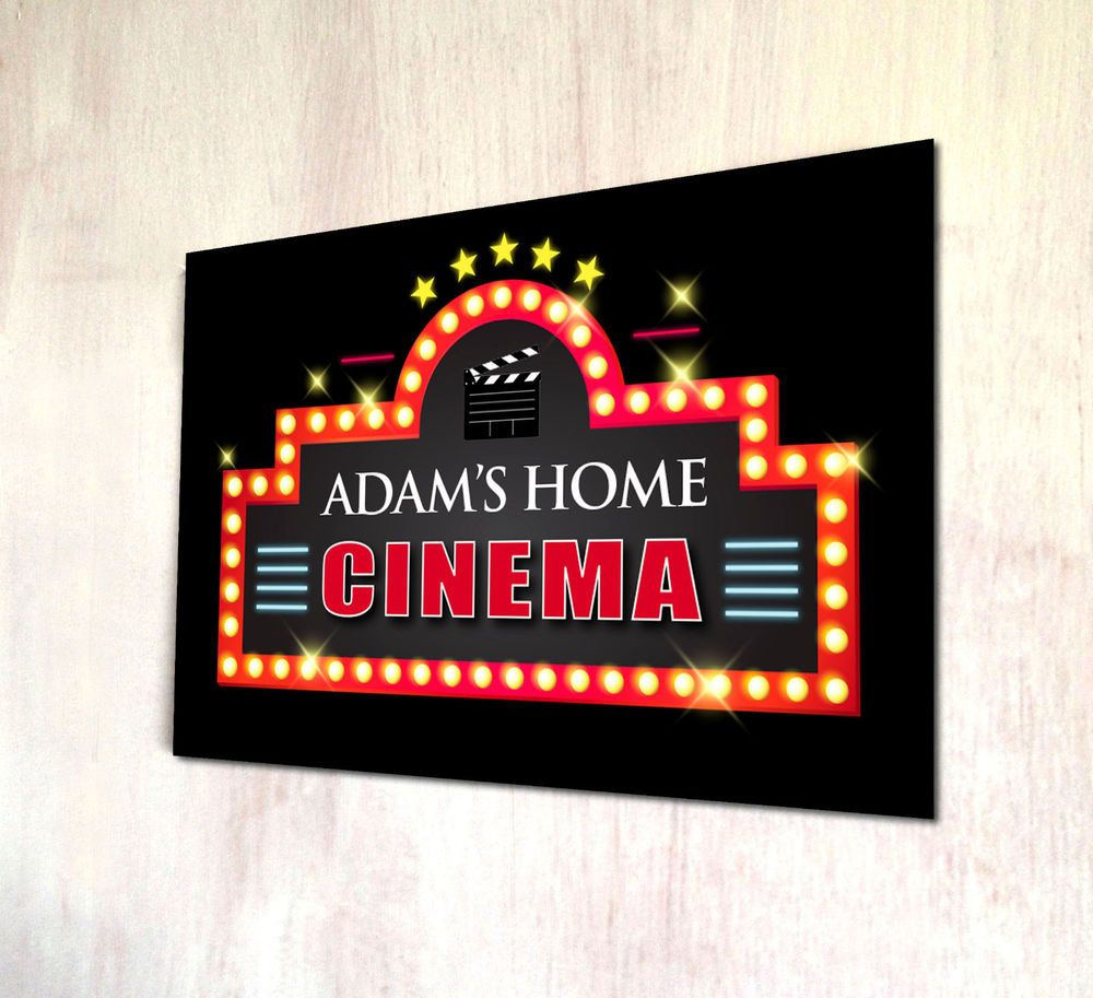 Details about Personalised Home Cinema sign A4 metal Door Plaque Games night