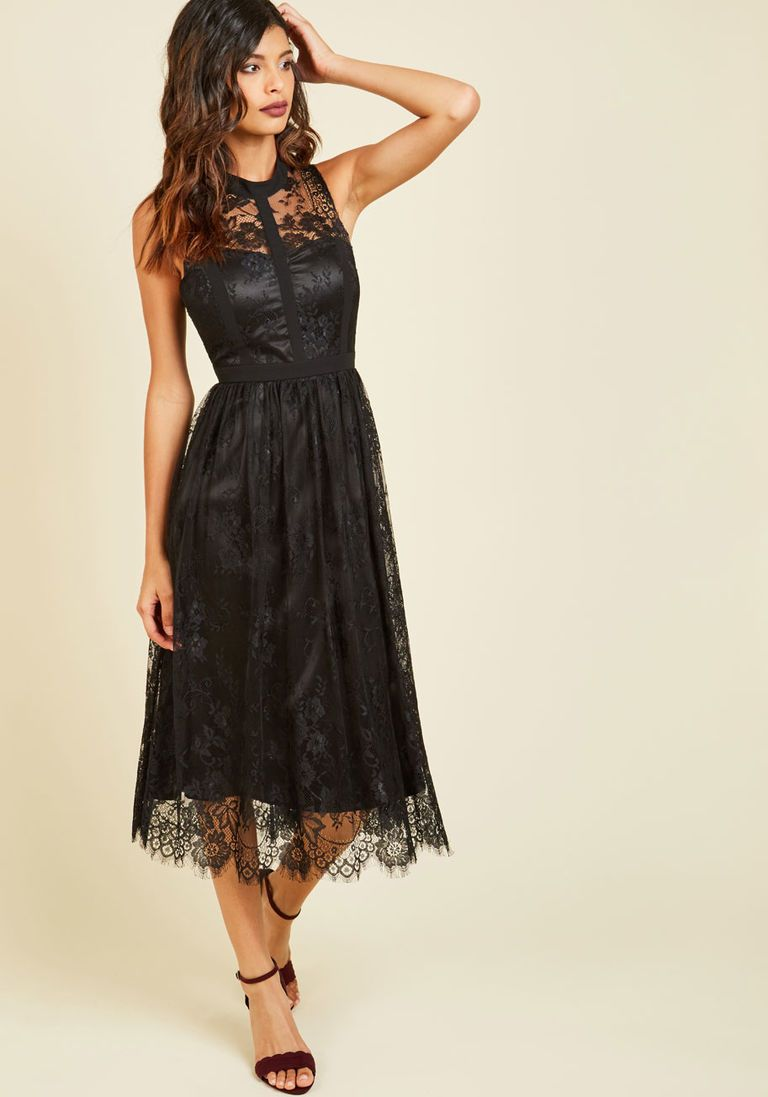 dab941fd07f75 Ethereal Enlivening Midi Dress in Black in 3X - Sleeveless Empire Waist