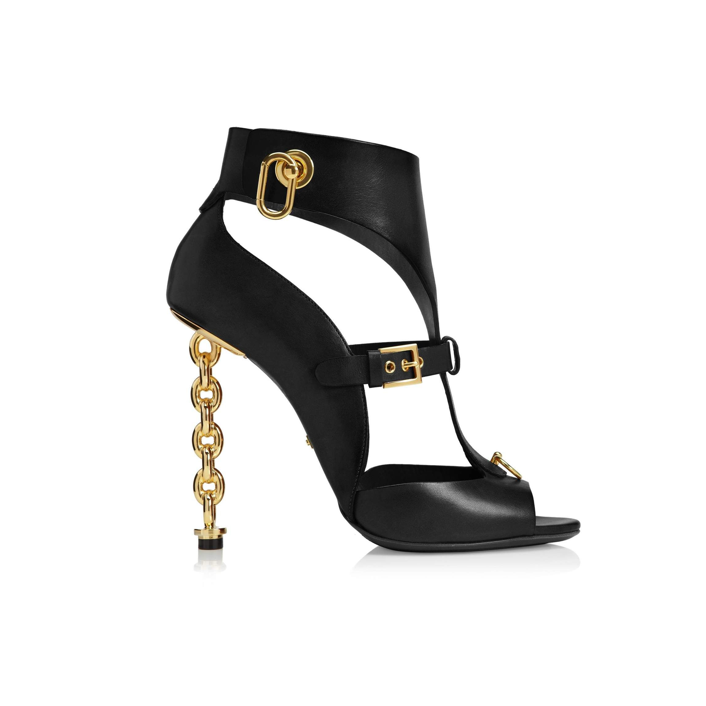 0841505a241 Leather Gladiator Sandal with Chain Heel - Tom Ford