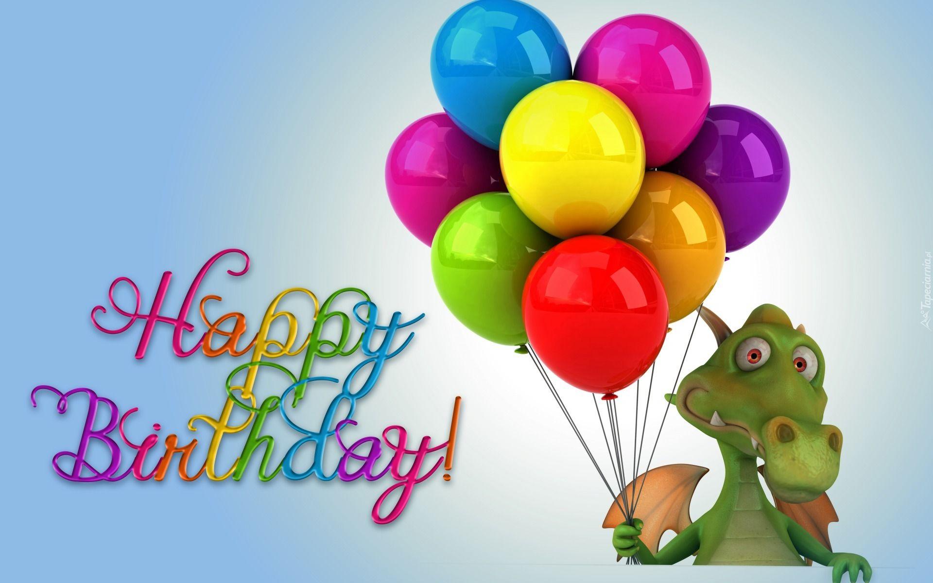Smieszne Urodziny Smok Balony Napisy Tlo Niebieskie With