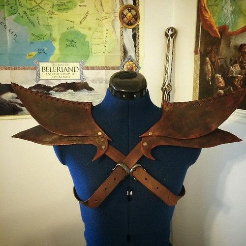 Leather Elven Shoulder Armor by OneiromanticDesigns on Etsy