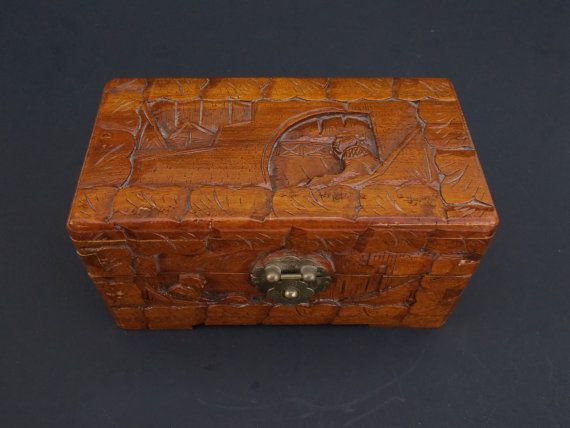 Antique Vintage Wooden Chinese Japanese Trinket Jewelry Box Hand